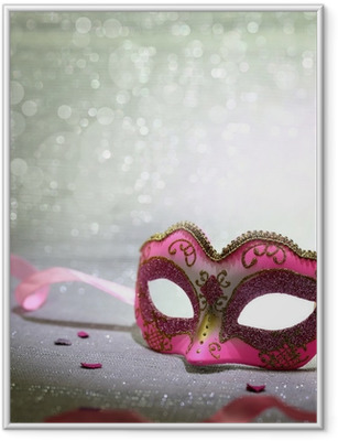 Ingelijste Poster Roze carnaval masker met schitterende achtergrond