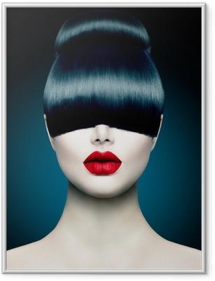Høj mode model pige portræt med trendy frynse Indrammet plakat