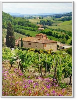 Innrammet plakat Utsikt gjennom vingårder med steinhus, Toscana, Italia