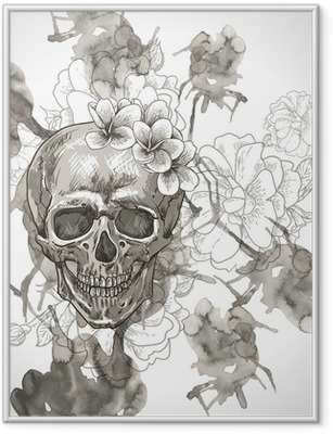 Abstract Background with Skull, Wings and Flowers Framed Poster