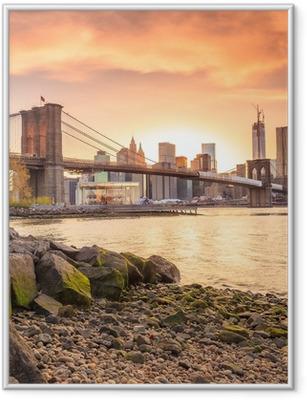 Poster in Cornice Ponte di Brooklyn al tramonto