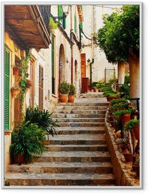 Ingelijste Poster Straat in Valldemossa dorp in Mallorca