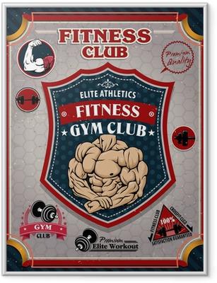 Vintage Fitness Gym poster design Framed Poster