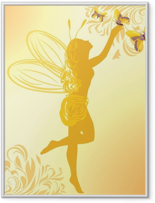 Fairy and butterflies on a yellow background Framed Poster