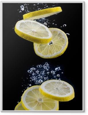 Póster Enmarcado Rodaja de limón en el agua
