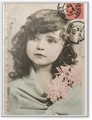 c42f157a3636bb Plakat w ramie Vintage, portret pięknej dziewczynki ok. 1907