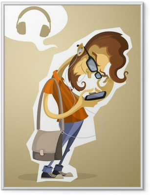 Nerd hipster with the phone and headphones Framed Poster