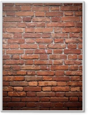 Plakat w ramie Stary grunge tekstury ściany z czerwonej cegły