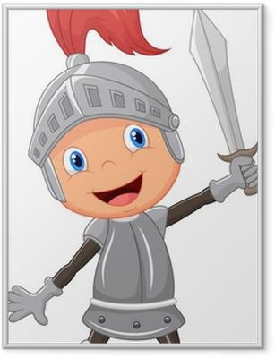Çerçeveli Poster Karikatür şövalye çocuk
