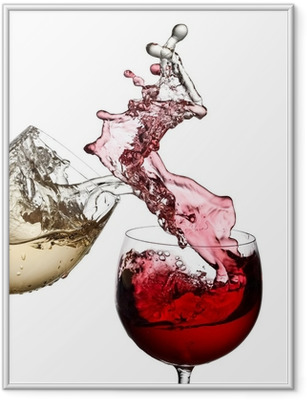 Red and white wine up together Framed Poster