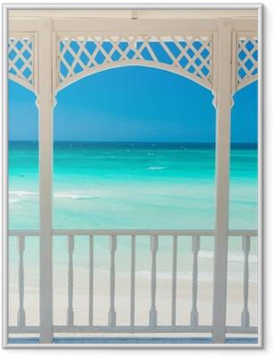 Plakat w ramie Drewniany taras z widokiem tropikalnej plaży na Kubie