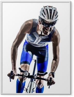 Poster en cadre Homme triathlon fer cyclistes homme d'athlète bicyclette