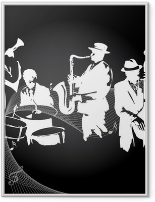Jazz koncert sort baggrund Indrammet plakat