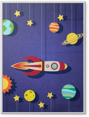 Gerahmtes Poster Papier-Rakete im Weltraum