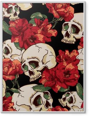 Ingelijste Poster Schedel en Bloemen Naadloze Achtergrond