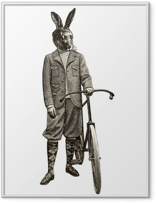 Gerahmtes Poster Kaninchen Fahrrad
