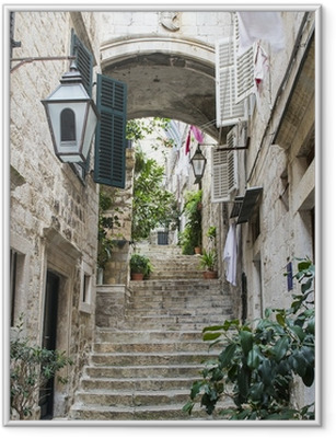 Ingelijste Poster Trappen in de Oude Stad van Dubrovnik