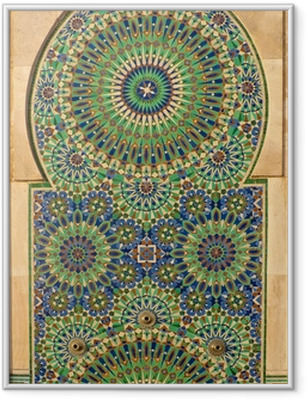 Ingelijste Poster Sierlijke mozaïek op een Marokkaanse moskee