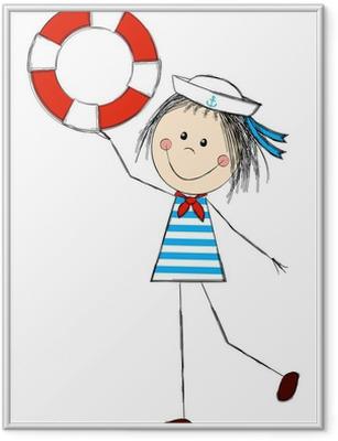 Poster in Cornice La ragazza divertente indossando il costume da marinaio