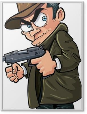 Ingelijste Poster Gangster cartoon met een pistool en hoed