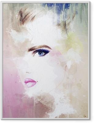 Poster in Cornice Ritratto di donna. acquerello astratto. moda sfondo