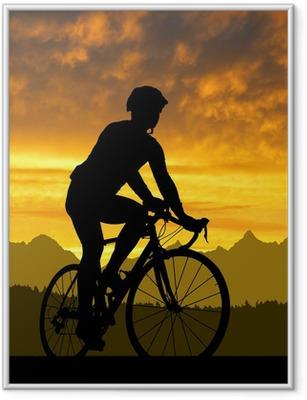 Poster en cadre Silhouette du cycliste en vélo de route au coucher du soleil