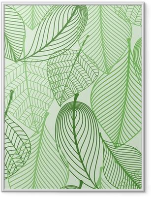 Green leaves seamless pattern background Framed Poster