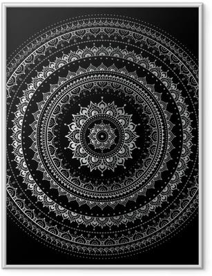 Poster en cadre Mandala argent - Styles