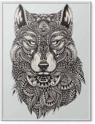 Plakát v rámu Vysoce detailní abstraktní vlk ilustrace
