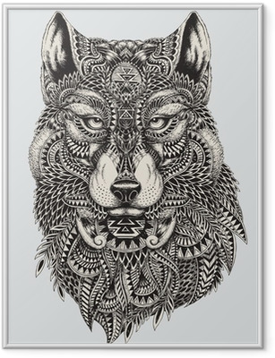 Poster i Ram Mycket detaljerade abstrakt wolf illustration