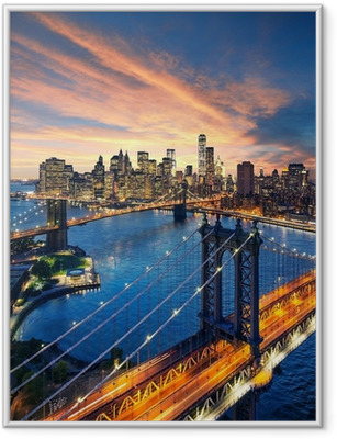Ingelijste Poster Zonsondergang boven de Manhattan en Brooklyn Bridge