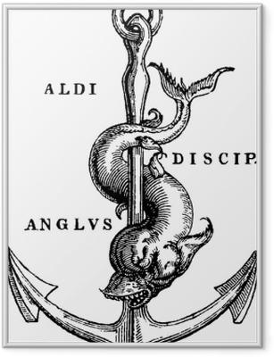 Gerahmtes Poster Antiker Illustration Seeanker
