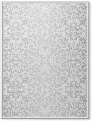 Ingelijste Poster Zilveren barokke helder patroon