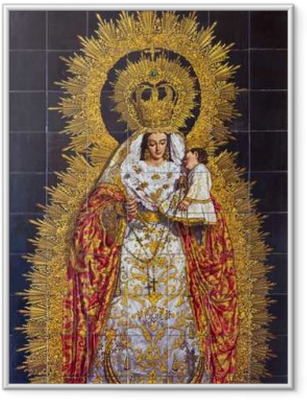Póster Enmarcado Sevilla - La cerámica de azulejos Madonna