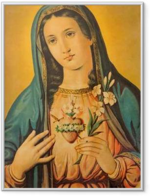 Ingelijste Poster Het hart van de Maagd Maria met de lelie