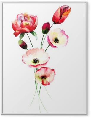 Póster com Moldura Flores da papoila e tulipas