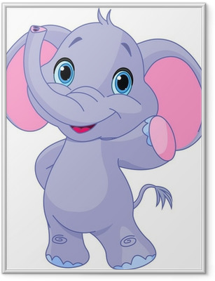 Gerahmtes Poster Netter Elefant