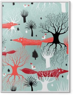 Gerahmtes Poster Muster-Bäume und Füchse