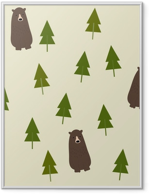 Poster in Cornice Bear and forest seamless background.