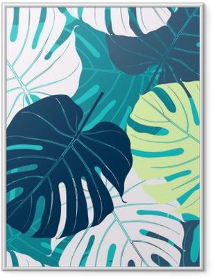 Gerahmtes Poster Nahtlose Muster mit Palmblättern
