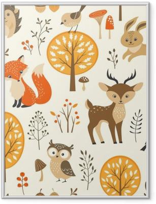 Gerahmtes Poster Herbstwald nahtlose Muster mit niedlichen Tiere