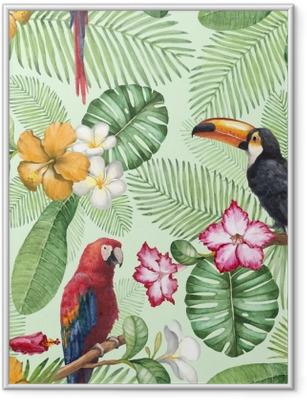 Plakat w ramie Akwarela Tukan i papuga. wzór