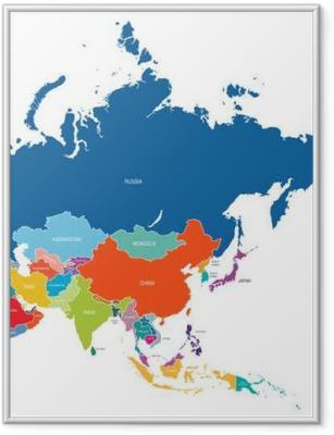 Ingelijste Poster Asia kaart
