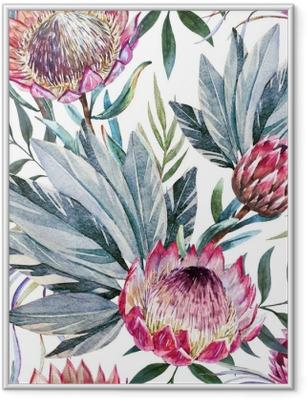 Raster tropical protea pattern Framed Poster