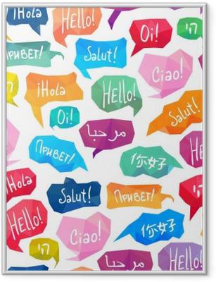 """Poster in Cornice Seamless pattern - bolle di discorso con """"Ciao"""" in diverse lingue"""