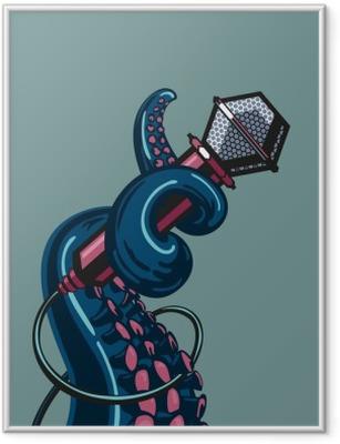 Póster Enmarcado Tentáculos pulpo es que sostiene un micrófono. La plantilla para la música impresiones
