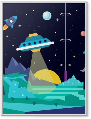 Poster in Cornice Alien paesaggio pianeta spazio con ufo