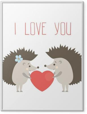 Poster en cadre Hérissons vecteur dans l'amour