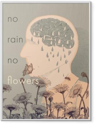 Plakat w ramie No rain, no flowers
