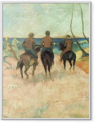 Ingelijste Poster Paul Gauguin - Ruiters op het strand